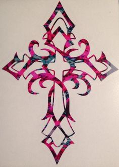 Items similar to Celtic Gothic Cross Vinyl Decal Tall! YOU Choose CAMO Color! Christian Faith Jesus Camo Pink Girl Tribal Muddy Truck Forest Wild Love on Etsy Celtic Cross Tattoos, Cross Tattoos For Women, Tribal Cross Tattoos, Cross Tattoo Designs, Cross Designs, Cross Drawing, Cross Wallpaper, Cross Pictures, Pictures Of Crosses