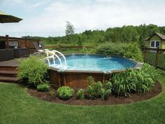 Getting an above ground pool for your home is a big decision but isn't a difficult problem if you know it. You must know about information best pool to your limited time and budget. Here We've provide a list of above ground pool ideas with decks and some Above Ground Pool Landscaping, Above Ground Pool Decks, Backyard Pool Landscaping, In Ground Pools, Landscaping Ideas, Landscaping Software, Above Ground Swimming Pools, Backyard Ideas, Rectangle Above Ground Pool