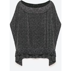 SHINY FRINGED TOP - Blouses-TOPS-WOMAN | ZARA United States (170 BRL) via Polyvore featuring tops, blouses, shiny blouse, wet look top, shiny tops, fringe blouse e fringe tops
