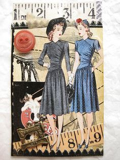 Should have read the swap description before I made ATC Vintage Sewing Notions, Vintage Sewing Patterns, Atc Cards, Card Tags, Vintage Cards, Vintage Paper, Art Vintage, Dress Vintage, Pattern Paper