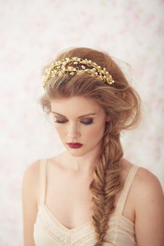 Lorelei  Double Headband //gold // The Singular Bride
