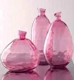 Fuschia Pink Glass Bottles