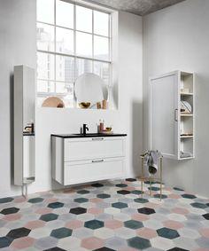 Vista badrumsskåp med integrerat svart handfat och allt det förvaringsutrymme du kan tänkas behöva