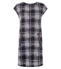 New Look: Black Fuzzy Check Print Zip Pocket Tunic Dress