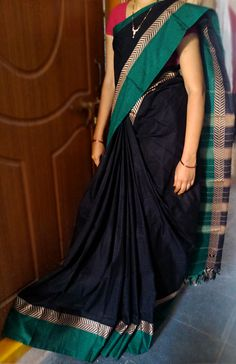 Indian Traditional Handloom Sarees: Narayanpet Black Color Cotton Saree with Green bor...