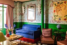 The Airbnbs And Hotels We Each Are Dreaming About Staying At - Emily Henderson Hotel Lounge, Hall Painting, Edward Hall, Eileen Gray, Estilo Art Deco, Sweet Home, Turbulence Deco, Paris Hotels, Colores Paredes