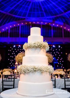 the classic six-tier wedding cake was adorned with gypsophila, tying the entire theme together. Wedding Decorations, Wedding Venues, NYC Public Library Wedding