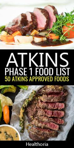 Atkins Diet Phase 1 Food List Phase 1 (induction) has the highest weight loss potential, but it also has a lot of restricted foods. Here's the Atkins diet phase 1 food list. Atkins Diet Recipes Phase 1, Atkins Recipes, Atkins Snacks, Atkins Meal Plan, Atkins Meals, Low Carb Atkins Phase 1, Atkins 40, Diet Food List, Food Lists