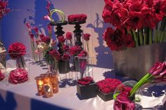 Pink and red floral sculptures