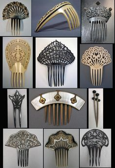 Mid 19th C. Victorian to 1910s Edwardian combs in black and ivory celluloid, with one mother of pearl  and horn, and one rubber with jet beads.