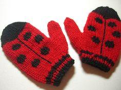 Crochet Baby Mittens Ravelry: ladybug mittens pattern by Susan Chang - Crochet Baby Mittens, Knitted Mittens Pattern, Knit Mittens, Knitting Patterns, Fingerless Mittens, Hat Patterns, Stitch Patterns, Knitting For Kids, Free Knitting
