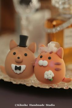 sheltie and kitty cat wedding cake topper by MochiEgg on Etsy