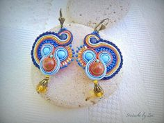 dangle blue-orange Soutache earrings, Soutache earrings blue earrings soutache…
