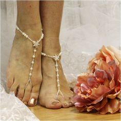 STARFISH rose gold  barefoot sandals wedding - rhinestone