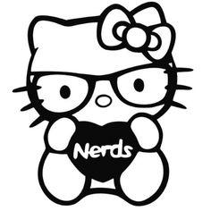 Hello Kitty - Nerds Love - Vinyl Car Window and Laptop Decal Sticker Laptop Decal Stickers, Window Stickers, Bumper Stickers, Vinyl Decals, Car Decals, Hello Kitty Tattoos, Hello Kitty Art, Kitty Kitty, Hello Kitty Backgrounds