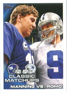 2010 Topps NFL Football Card # 226 Eli Manning vs. Tony Romo - Giants / Cowboys (Classic Matchups) NFL Trading Card in a Protective ScrewDown Case! by Topps. $1.99. 2010 Topps NFL Football Card # 226 Eli Manning vs. Tony Romo - Giants / Cowboys (Classic Matchups ) NFL Trading Card in a Protective ScrewDown Case!
