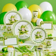 Sweet Pea Baby Shower Deluxe Party Pack For 16