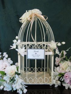 beautiful shaby chic bird cages | Shabby Chic Ivory Bird Cage/Wedding Card Holder/Decorative Bird Cage
