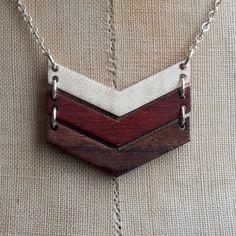 chevron wood necklace