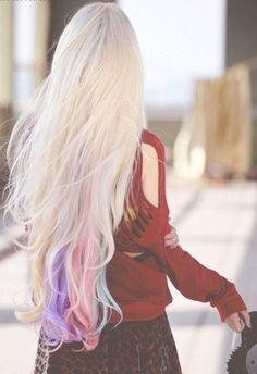 pastel tips dyed hair extensions