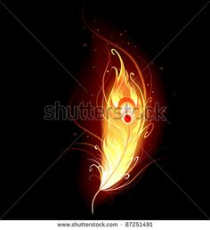 Illustration of artistically drawn, flaming phoenix feather on a black background. vector art, clipart and stock vectors. Phoenix Artwork, Phoenix Drawing, Phoenix Images, Phoenix Wallpaper, Lord Shiva Painting, Krishna Painting, Krishna Art, Fantasy Creatures, Mythical Creatures