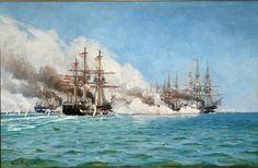 Carl Locher (1851-1915): The battle of Helgoland in 1864