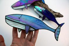 GLASS HUMPBACK WHALE - Iridescent Stained Glass - Sea Life Decoration - Cute Gift - Contemporary Ornament
