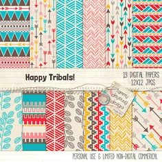 Tribal Digital Paper Happy Tribal Backgrounds by songinmyheart, $4.50