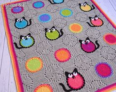 CROCHET PATTERN - Cat Lover Blanket - a colorful cat afghan blanket with circles in squares and kitty cats - Instant PDF Download