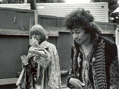 """Rolling Stones founding member Brian Jones accompanies Jimi Hendrix backstage at Monterey Pop Festival. Jones would introduce Hendrix, who at the time was a relative unknown in the United. Monterey Pop Festival, The Rolling Stones, Michael Jackson, Michelle Phillips, Jon Bon Jovi, Freddie Mercury, Beatles, Hard Rock, Rock Rock"
