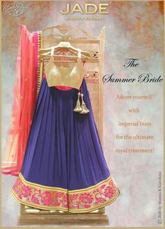 Blue, gold, and pink lehenga design Lehenga Choli Designs, Indian Attire, Indian Ethnic Wear, Indian India, Ethnic Dress, Indian Style, Indian Dresses, Indian Outfits, Indian Clothes