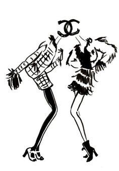 Chanel, parisienne, mode, dessin, silhouette