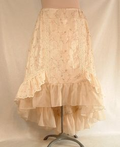Shabby Chic Victorian Skirt Cream Embroidered Taffeta Lace Eyelet Ruffle on Etsy, $70.00