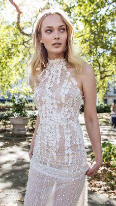 riki dalal fall 2017 bridal sleeveless halter neck heavily embellished bodice romantic elegant sheath wedding dress low back chapel train (1904) zv
