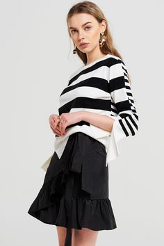 Audrey Slit Striped Knitted Top Discover the latest fashion trends online at storets.com #fashion #ootd #slit #stripedtop #knittedtop #tops #storetsonme