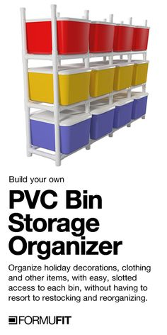 PVC Storage Bin Organizer If you've been looking for a quick and easy storage solution for all those plastic storage bins in your house, our latest free PVC project is just what you've been seeking. Christmas and Halloween decorations, kids clothes, craft Pvc Storage, Storage Shed Organization, Garage Storage Shelves, Do It Yourself Organization, Basement Storage, Kids Storage, Plastic Storage, Craft Storage, Easy Storage