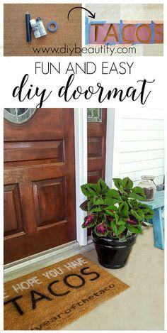 Follow this tutorial to make a custom (fun!) door mat for your front door, and find several DIY door mat ideas!