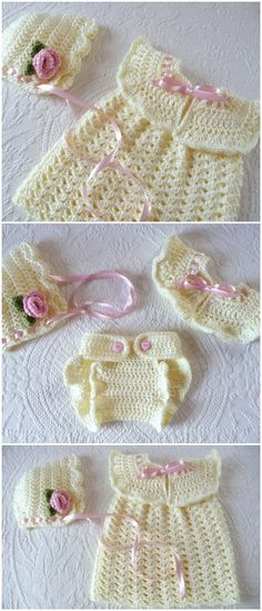 Despite the bleak weather outside, it's getting close to the time when spring and summer baby clothes will be needed. Crochet Baby Bloomers, Crochet Girls Dress Pattern, Baby Bloomers Pattern, Baby Girl Crochet, Newborn Crochet, Crochet Baby Hats, Crochet For Kids, Baby Knitting, Free Crochet