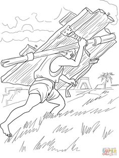 Samson Carries Gates Of Gaza Coloring Page From Category Select 24659 Printable Crafts Cartoons Nature Animals Bible And Many More