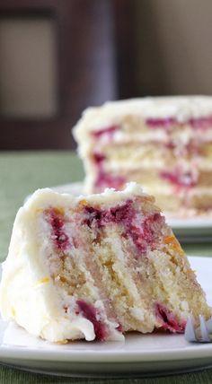 Meyer Lemon Iced Raspberry Yogurt Cake