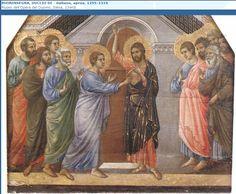 Jesús invita al desconfiado Santiago a que meta un dedo en su llaga y compruebe la veracidad de la misma.