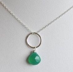 Long green pendant necklace