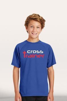 Cross Trainer - Boy's Youth Active T-Shirt - Blue