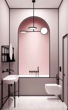 Modern pink bathroom in a Parisian apartment by architect Harry Nuriev from Crosby Studios. - sevde Hut - - Modern pink bathroom in a Parisian apartment by architect Harry Nuriev from Crosby Studios. Bad Inspiration, Bathroom Inspiration, Furniture Inspiration, Fashion Inspiration, Interior Inspiration, Interior Design Minimalist, Minimalist Decor, Minimalist Living, Modern Minimalist