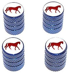 """(4 Count) Cool and Custom """"Diamond Etching Horse Silhouette Top with Easy Grip Texture"""" Tire Wheel Rim Air Valve Stem Dust Cap Seal Made of Genuine Anodized Aluminum Metal {Blue, White and Red} mySimple Products http://www.amazon.com/dp/B0131DG0ME/ref=cm_sw_r_pi_dp_pvWEwb0RDWYH2"""