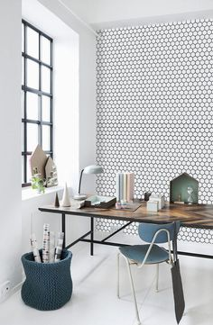 Home Office Designs - Home offices are now a norm to modern homes. Here are some brilliant home office design ideas to help you get started. Home Office Design, Home Office Decor, House Design, Home Decor, Office Ideas, Scandi Living, Vinyl Wallpaper, Adhesive Wallpaper, Honeycomb Wallpaper