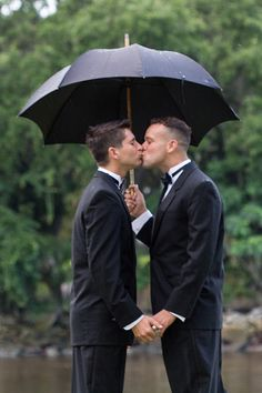 Same sex marriage. #Charleston #samelove #wedding #ceremony #umbrella #kiss #love