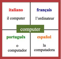 Computer - Daily Vocabulary Word in French, Spanish, Italian and Portuguese. http://wlteacher.word press.com/