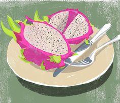 Dragon fruits #illustration #illustrator #tatsurokiuchi #art #drawing #life #lifestyle #happy #japan #people #木内達朗 #イラスト #イラストレーション