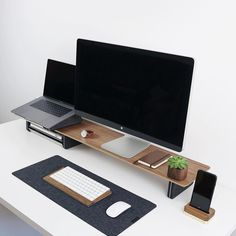minimalist bamboo monitor stand and matching desk accessories